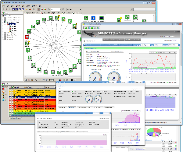 Mg soft network management software and development tools snmp mg soft net inspector java client main window displaying the network topology and active alarms left section and several performance management windows sciox Images